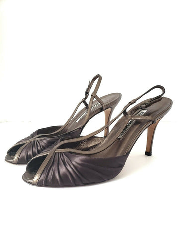 Manolo Blahnik Heels Open Toe Pleated Satin Leather Slingback Size 37.5 7.5