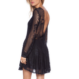 For Love and Lemons Dress Lolo Mini Black Lace Fit & Flare Open Back Size Small