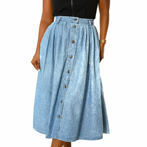 Vintage Dockers Jean Skirt Midi Swing Medium Wash Denim Button Front 25 Waist XS
