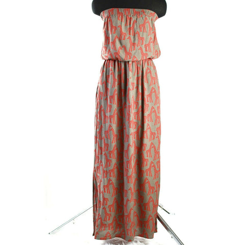 Escapada Savannah Dress Giraffe Red Taupe Tube Column Maxi Size Small Womens