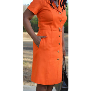 David Hayes Vintage Dress Orange Button Front Size 8 Medium Vintage USA Made