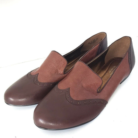 Naturalizer Lancing Slipper Brown Shoes N5 Slip On Wing Tip Stud Loafers Size 10