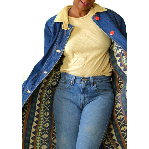 Vintage Denim Duster Coat Cotton Flannel Lined Long Jean Oversized Size Small