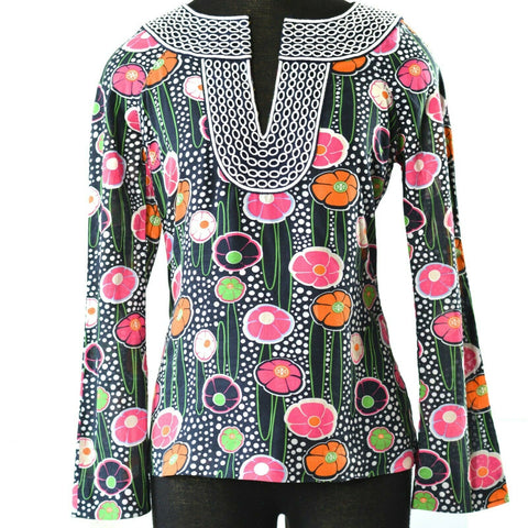 Tory Burch Tunic Top Floral Mod TB Logo Print Embroidered Cotton Size 0 XXS