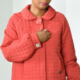 Betsey Johnson Car Coat Red Quilted Jacket Button Front Retro Swing Size Medium