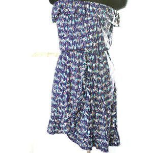 Lilly Pulitzer Flor Dress Strapless Ruffle Jersey Oh Buoy Print Blue Size Small