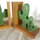 Vintage Cactus Bookends Painted Wood Made in USA Home Decor Books Organization