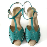 Natural Comfort Sandals Green Leather Wedge Heels T Strap Peep Toe Shoes Size 7