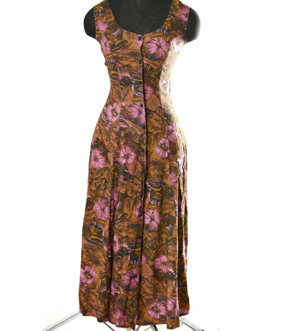 Vintage Ariana Maxi Dress 90s Grunge Floral Corset Back Button Front Size XS