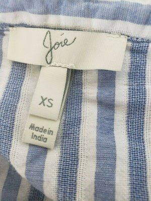 Joie Archana Top Blue Stripe Embroidered Pullover Size XS