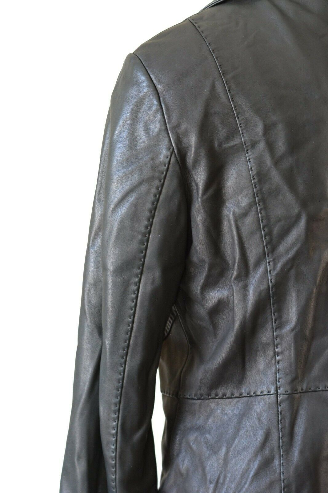 Andrew Marc New York Black Leather Jacket Blazer Button Collar Size Medium