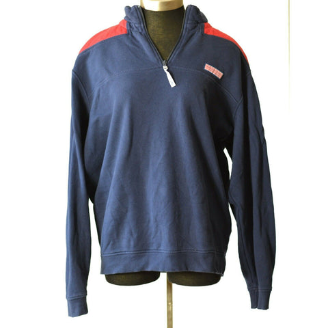 Vineyard Vines Shep Shirt Blue Quarter Zip Pullover Quilted Red Size Large Mens