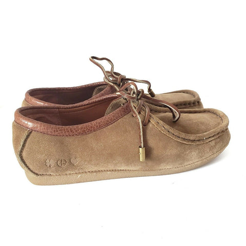 Lucky Brand Suede Moccasins Charlie Brown Tan Loafers Lace Up Flat Size 10 Women