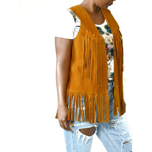Vintage Fringe Suede Vest Leather 70's Brown Boho Hippie Western