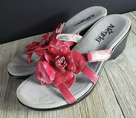Alegria Hula Sandal Thong Slide Red Leather Flower Size EUR 39 US 8 - 8.5
