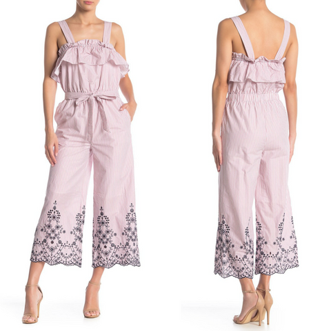 Nordstrom Dex Cropped Wide Leg Jumpsuit Embroidered Culottes Romper Size Small