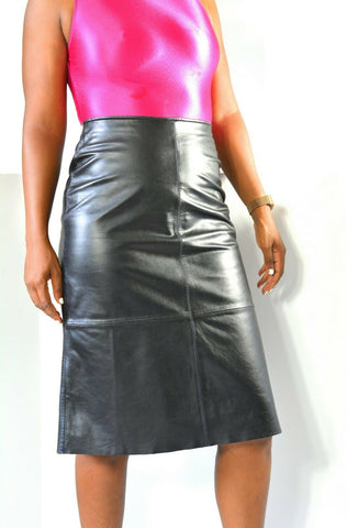 Vintage Black Leather Skirt Old Navy A line Fitted Size 26 Waist Small