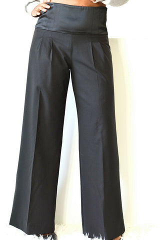 Sophia Eugene Pants Silk Wool High Waist Wide Flare Slacks Black Trousers Size 4