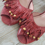 MISS ALBRIGHT Coco Sandal Red Leather Fringe Bead Peep Toe Sandals Size 9.5