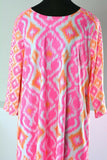 Gretchen Scott Dress Jersey Swinger Kitt Ikat Pink Pockets Size XXL 2XL Goddess