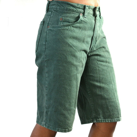 Levis 560 Jean Shorts Vintage 90s Orange Tab Green High Rise USA Size 29 Unisex