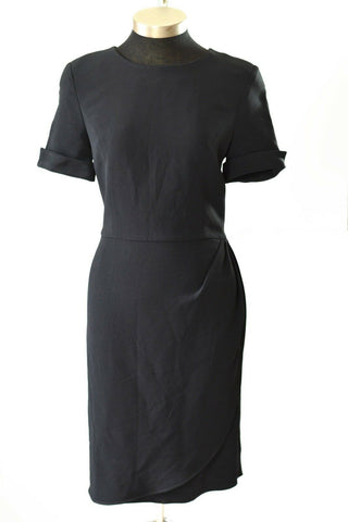Valentino Sheath Dress Miss V Vintage Classic Black Tulip Hem Faux Wrap Size XS
