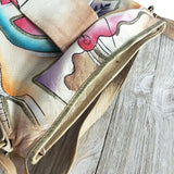 Vintage Painted Leather Bag Abstract Shoulder Wearable Art India Crossbody Purse