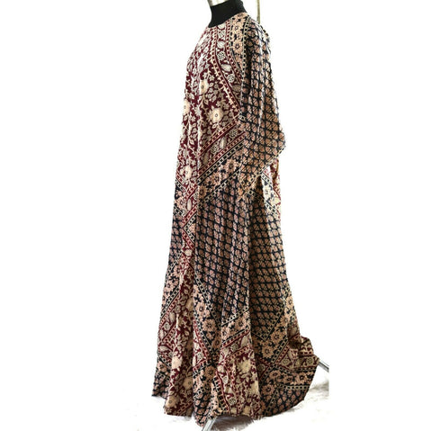Vintage Kaiser Kaftan Dress 70s Maxi Cotton Block Print Angel Sleeves Boho