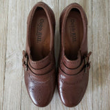 Cobb Hill Oxfords Selah Leather Heeled Slip On Brown Wing Tip Pumps Size 8.5