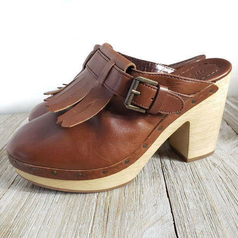 Madewell Classic Clogs Wood Heels Shoes Platform Kiltie Brown Slip On Size 6.5