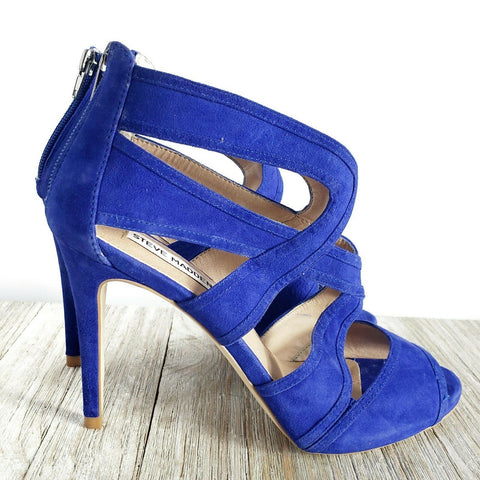 Steve Madden Immence Heels Blue Suede Pumps Strappy Caged Stilettos Size 8.5