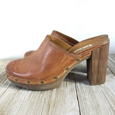 Paul Green Clogs Mules Platform Heels Slide On Wood Heel Leather Stud Size 6.5 7