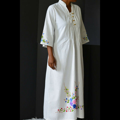 Unbranded Vintage Caftan Dress White Floral Embroidered Maxi Cotton Size Small