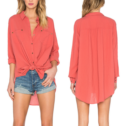 Free People Top Love Her Madly Button Boyfriend Pink Oversized Shirt Size Small