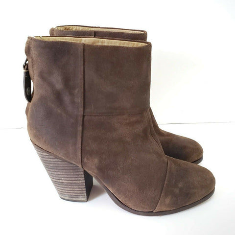 Rag & Bone Newbury Booties Brown Ankle Boots Waxed Suede Size 39 8.5
