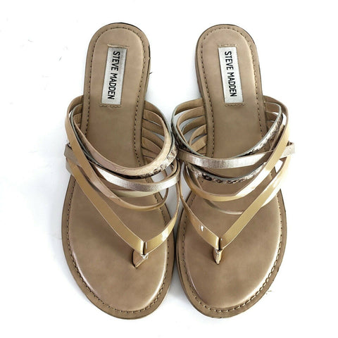 Steve Madden Sandals Julie Natural Leather Slip On Straps Flat Thong Size 8