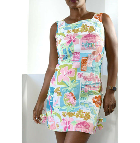 Vintage Lilly Pulitzer Shift Dress Hawaii Resort Mai Tai Tiki White Label Size 4
