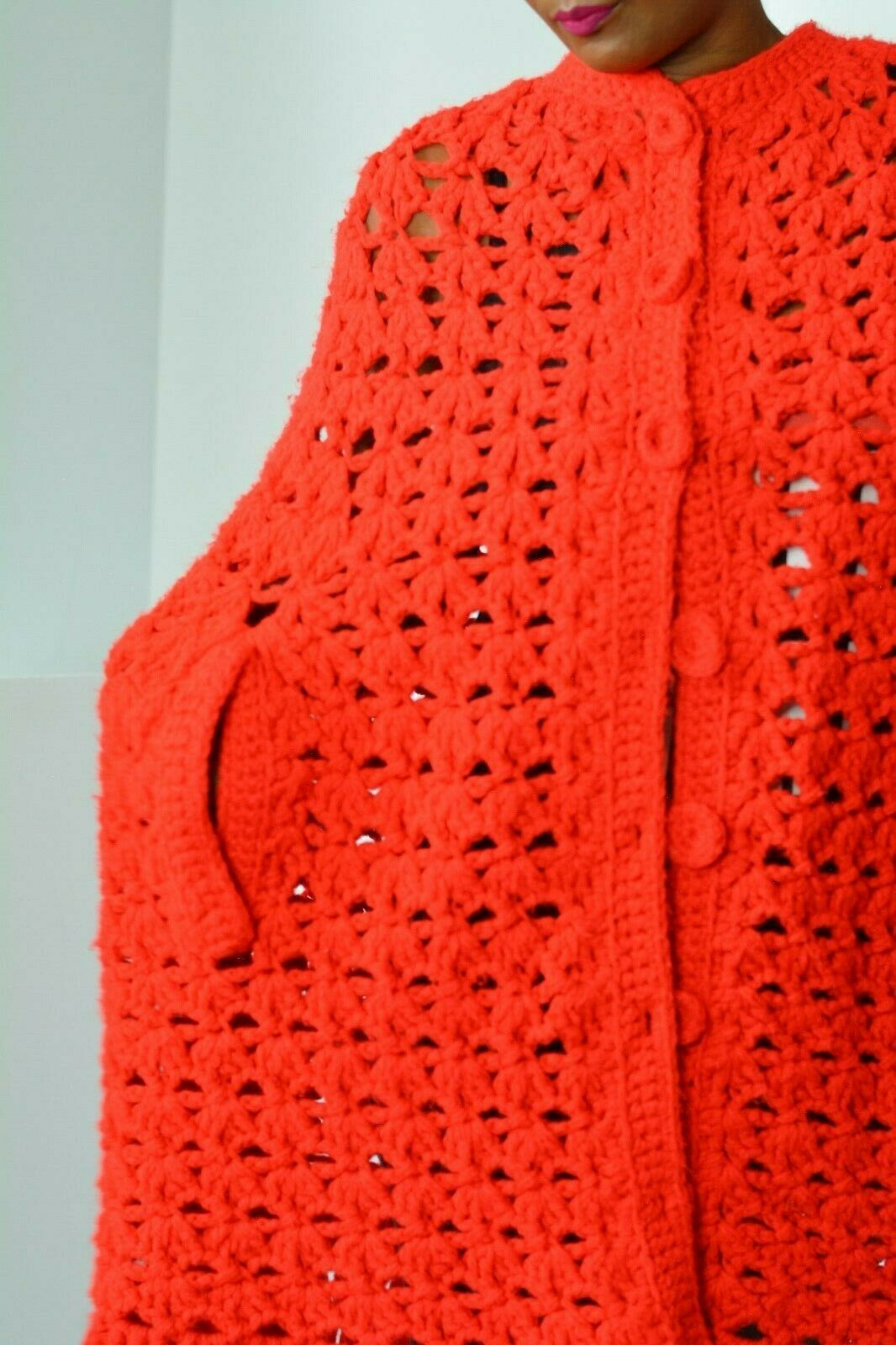 Vintage Crochet Cape Unbranded Knit Coat Homemade Red Fringe Boho One Size