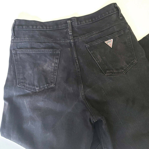 Guess Jeans High Waisted Vintage Black Faded Button Fly Mom Rise Size 32 Womens