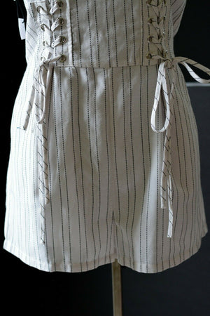 Nordstrom Romper Dex Stripe Laced Shorts Flutter Sleeve Black White Size Small
