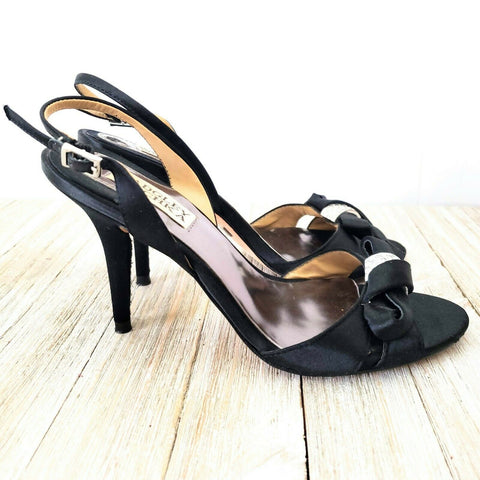 Badgley Mischka Black Embellished Bow Heels Formal Satin Stiletto Heel Sandals