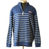 Vineyard Vines Shep Shirt Blue Quarter Zip Pullover Stripes Size Large Mens