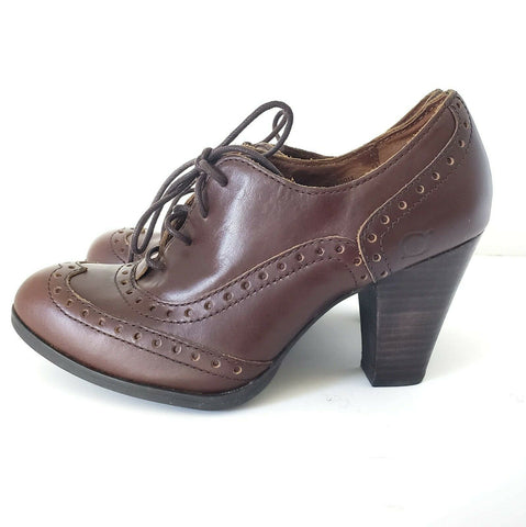 BORN Oxford Heels Waverly Brown Leather Brogue Wingtip Womens Shoes Size 6.5