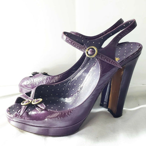 Moschino Cheap Chic Heels Purple Patent Leather Ankle Strap Italy Shoes Size 7.5