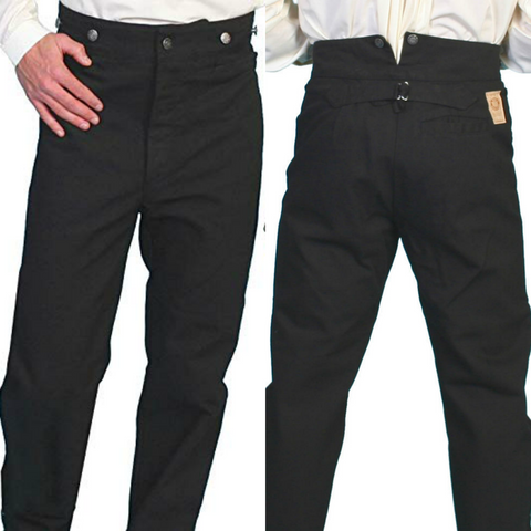 Wahmaker Scully Canvas Pants Black Frontier Suspender Button Fly Size 32 x 36