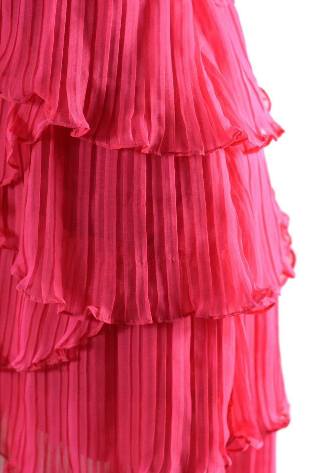 Sue Wong Cocktail Party Dress Pink Fuchsia Asymmetrical Mini Tiered Size 4 NWT