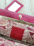 Hobo Trifold Wallet Rachel Kiss Lock Frame Mirror Clutch Leather Red Pink
