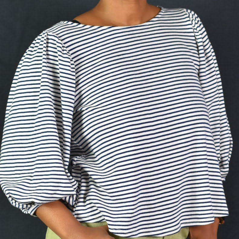 Eri Ali Striped Balloon Sleeve Top Size XS