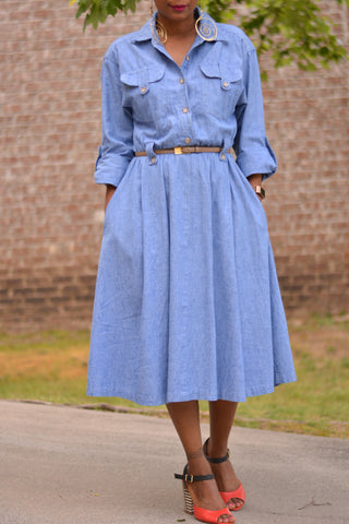 Vintage Midi Jean Denim Dress Size Medium