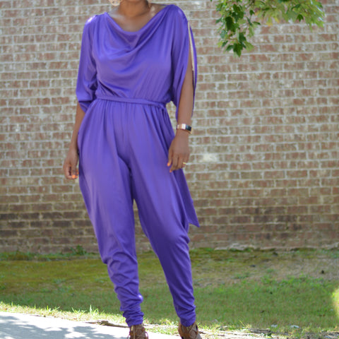 Vintage Purple Jumpsuit with Chain Trim Shoulders Size Small